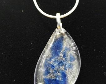 "SW FL ""Ocean Wave"" Inspired Blue Glass Resin Pendant Necklace"