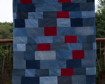 Corolin's Quilts: Twin jean quilt with red accents and fleece backing