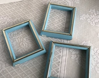 Fathers Day Sale Picture Frames / Vintage Blue Wood Frames  /  Set of Three Blue Frames Two 4 X 5 Frames and One 5 X 5 Frame