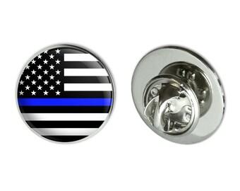 "Thin blue line american flag metal 0.75"" lapel hat pin tie tack pinback"