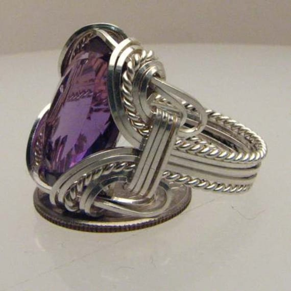 Wire wrapped Ring Handmade Solid Sterling Silver Wire Wrap Purple Amethyst Gemstone  Ring