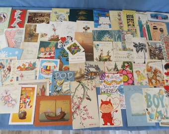 Vintage Lot of 62 Greeting Cards 1940's, 1950's Christmas Birthday other