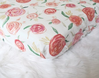 Watercolor Floral Peonies - Bright - Fitted Crib/Toddler Sheet - Bohemian - Boho