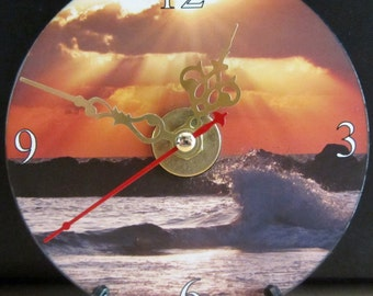 Brand New -- Scenic CD Clock Ocean Waves Golden Ray Sun Clouds