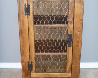 Rustic Pallet Cabinet With Chicken Wire Door, Rustic Nightstand, End Table,  Jelly Cabinet