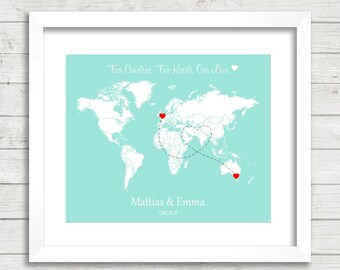 8x10 love world map long distance relationship international london united kingdom melbourne australia wedding gift paper anniversary