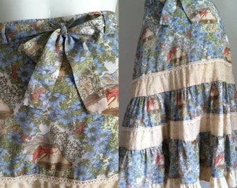 sale -- Vintage 1970s Fairy Print Boho Ruffle Skirt