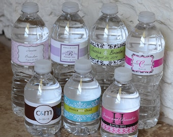 250 Custom Glossy Waterproof Wedding Water Bottle Labels - hundreds of designs to choose from - change designs to any color, wording, etc