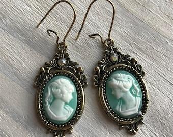 Vintage Style Cameo Earrings, Aqua, Turquoise, Antique