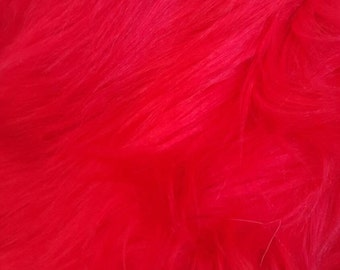 Shaggy Faux Fur / Red Fabric by the yard