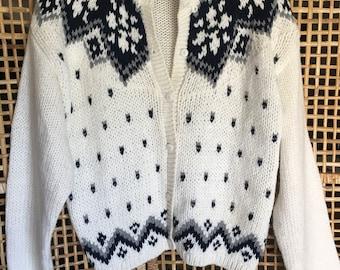 Vintage Fairisle Womens Sweater Cardigan Size Large