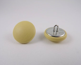 pastel yellow leather 20mm-6 covered buttons