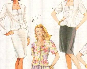 """SALE* McCalls 6411, Sz 8-12/Bust 31.5-34"""".  EASY Ladies suit, Square neck Princess Seam Jacket & Flared/Pencil Skirt Suit, UNCUT 90s pattern"""