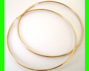 """65mm  2 1/2"""" 14k Gold Filled Endless hoop Earring Round Circle Ear Wire Earwires GE38  1 pair"""