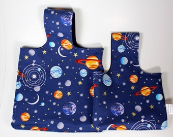 Planets and Stars Large and Small Over Arm Crafting Project Bag and Basket