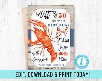 EDITABLE Crawfish 50th Birthday Invite, Crawfish Boil, Crawfish Birthday, 30th 21st 40th 50th 60th, Crawfish Invitation, Instant Download,