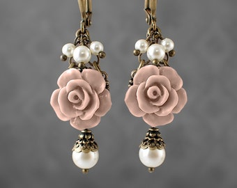 Dusty Blush Pink Resin Rose Lever Back Earrings - Swarovski Pearl Ivory Victorian Jewelry Shabby Rose Jewelry Neo Victorian Flower Earrings