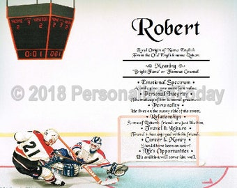 Ice Hockey Name Meaning Origin Print Name Personalized Certificate 8.5 x 11 Custom Name Hockey Mom Gift Olympics Puck Goal Mask Stick Decor