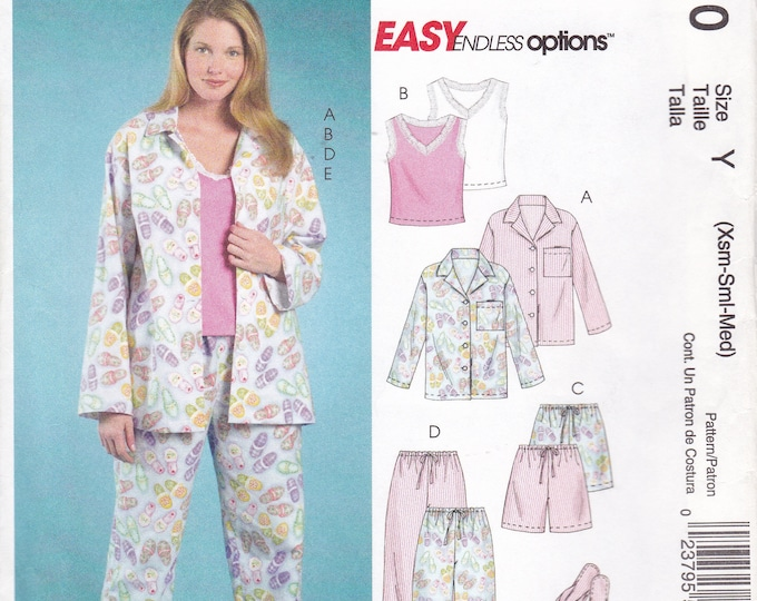 FREE US SHIP McCalls 5010 Endless Options Pj's Pajamas Top Pants Drawstring Camisole Slippers Uncut Sewing Pattern  Size 4 6 8 10 12 14 new