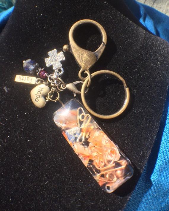 Fire and Ice Earth Element Orgonite® Keychain- Orgonite Traveler's Charm- Fairy Orgone Keychain- Shungite Keychain- EMF Protection Orgonite®