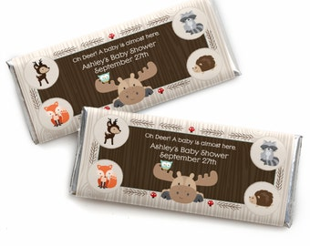 Woodland Candy Bar Wrappers - Personalized Woodland Creatures Baby Shower Favors - Woodland Animals -  Forest Animals Party Favors - 24 ct.