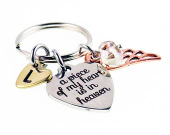 Angel Wing - A Piece of My Heart  Hand Stamped Key Chain - Personalized Zipper Charm - Guardian Angel Key Ring Charm - expressions bracelets