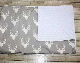 Baby Blanket- Deer Baby Blanket- Baby Girl Blanket- Minky Blanket-Monogram Blanket-Nursery Blanket-Boy Baby Blanket