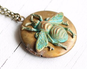 Bee Necklace, Bee Locket, Insect Jewelry, Personalized Locket, Customized Gift