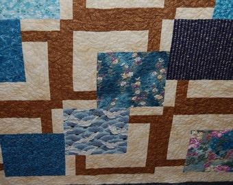 Sale! Outside the Box Blue, Cream, and Brown Asian Fabric Twin Quilt