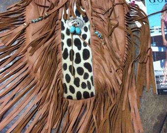 tribe hide fringe bag