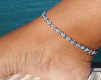 Ankle bracelet, Blue Anklet, Diamond Daisy Ankle Bracelet, Seed Bead Anklet,  Beach Anklet, Beadwork Jewellery,