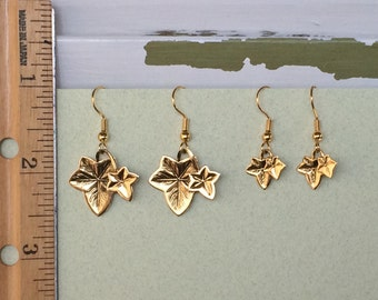 Ivy Earrings - Shiny Antique Gold - Beautiful detail - Two sizes