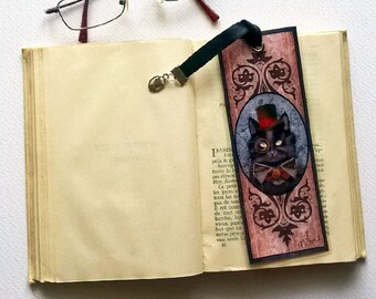 Made Ino, steampunk cat - illustrated, laminated, the bookmark