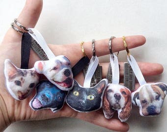 Custom Pet Head Keyring / Keychain - dog, cat, animal, gift, photo, picture, personalized, memorial, travelling, backpack, keys, novelty fun
