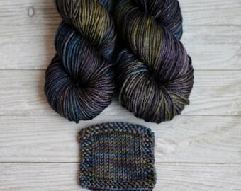 Hand dyed yarn silk merino DK, Cameron, 'Petrol', knitting yarn, silk and wool yarn,