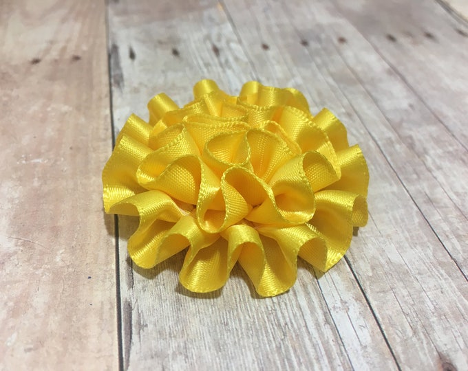 "2"" Yellow Mini Satin Flower 