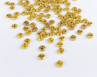 B019E Gold 3mm Micro Mini Buttons Tiny Buttons Doll Buttons Sewing Craft Doll Clothes Making Sewing Supply