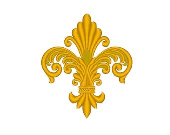 Detailed Elegant Fleur-de-Lys Embroidery Machine Design