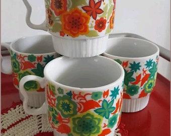 Vintage Floral Stacking Mugs Made in Japan
