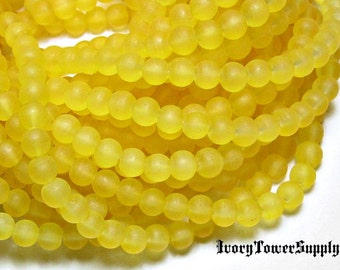 1 Strand 6mm Frosted Glass Beads, Yellow Beads, Round Beads, Translucent Glass Bead Strands