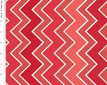 Red Chevron Fabric, Riley Blake C780-13 Shaded Chevron Medium Cinnamon, Red & White Chevron Quilt Fabric, Cotton