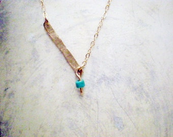 Turquoise gold bar necklace, 14k gold filled necklace