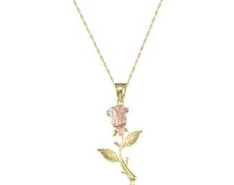 14K Solid Yellow Rose Gold Rose Pendant Singapore Chain Necklace Set - Flower Charm