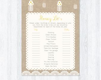 Rustic Honey Do's Bridal Shower Game, Daisy in Mason Jar, Rustic Burlap Style, DIY Printable Bridal Activity, INSTANT DOWNLOAD