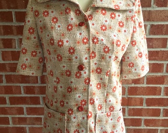 Vintage 60s tan and and orange floral button down top. Size M/L