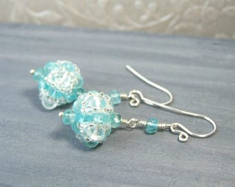 Apatite Earrings Blue Gemstone Earrings Quartz Crystal Jewelry Sterling Silver Handcrafted Earrings Beautiful Earrings Apatite Jewelry Gift