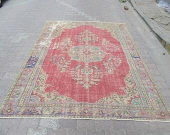 6.8x8.7 Ft Worn out vintage Turkish Oushak rug