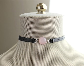 Rose Quartz Choker. 9 Leather colors to choose from