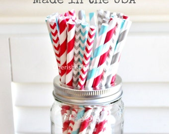 25 Christmas Aqua Red Paper Straws, Grey Paper Straws, Vintage Rustic baby Shower, Wedding, Birthday, Made in USA, Cake Pop Sticks