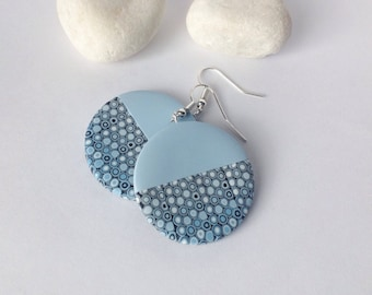 Polymer  Clay Earrings , Modern earrings , Ombre earrings, Geometric earrings, Minimalist earrings ,Blue earrings, Round earrings